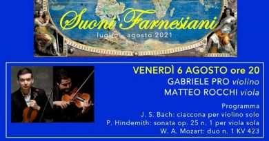 Due virtuosi al Palazzo Farnese di Caprarola: Gabriele Pro al violino e Matteo Rocchi alla viola